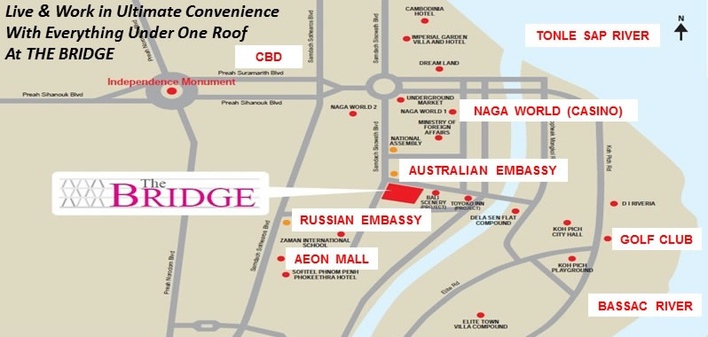 The Bridge location map